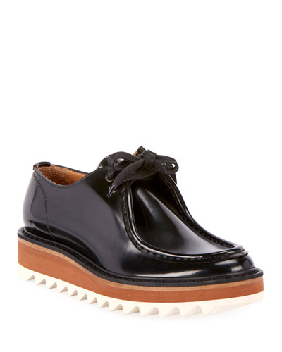 Platform Lace-Up Patent-Leather Wally Shoes