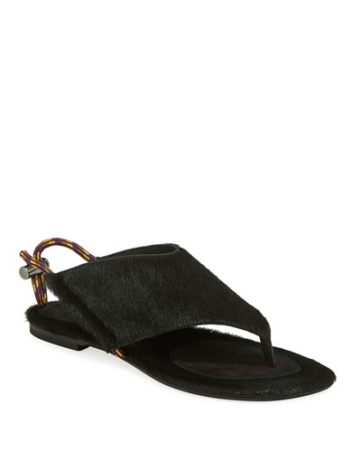 Flat Calf Hair Thong Sandals with Toggle