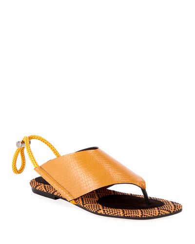 Toggle-Back Leather Sport Thong Sandals