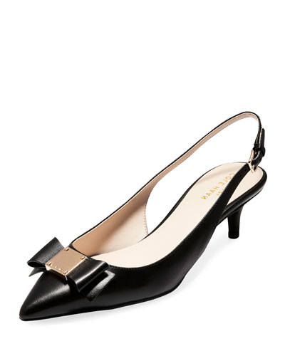 Tali Grand Bow Kitten-Heel Leather Pumps  Black