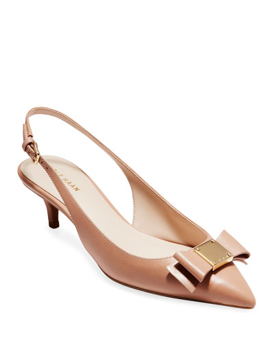 Tali Grand Bow Kitten-Heel Leather Pumps  Nude