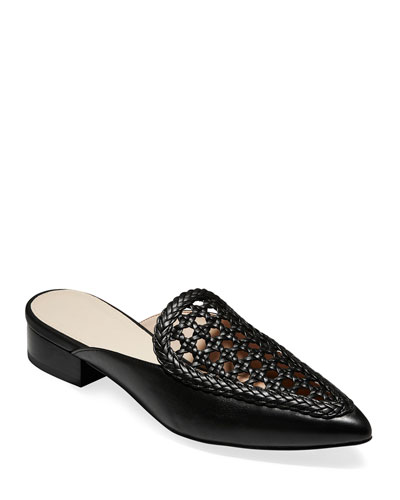 Payson Grand Woven Leather Mules  Black