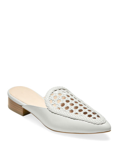 Payson Grand Woven Leather Mules  White