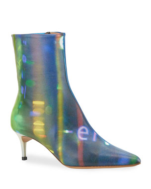 77b352eb3a7 Deconstruct Crinkled Metallic Pumps.  995 · Maison Margiela After Party  Printed Kitten-Heel Ankle Boots