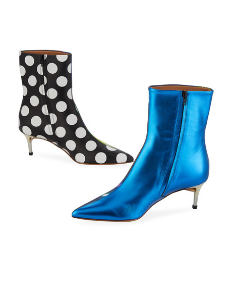 f2a92fa916 Maison Margiela After Party Printed Kitten-Heel Ankle Boots In Blue ...