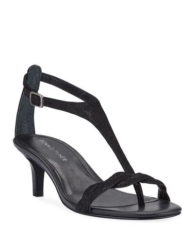 Kate Metallic Suede T-Strap Sandals
