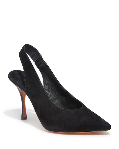 Innet Suede Point-Toe Slingback Pumps