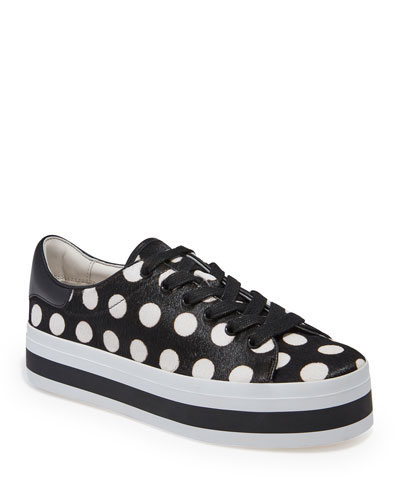 Ezra Polka-Dot Calf-Hair Platform Low-Top Sneakers