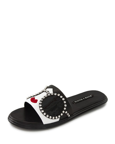 Valma Stace-Face Flat Slide Sandals
