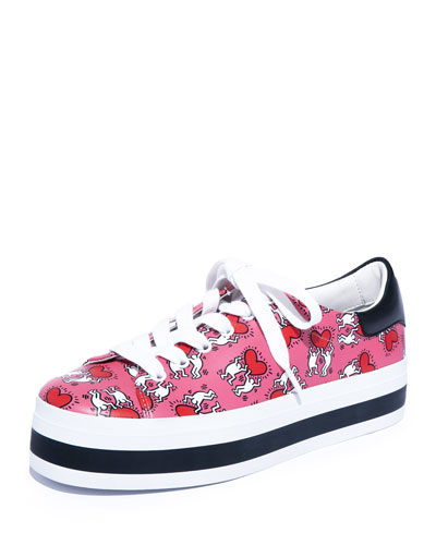 Walking Heart Platform Low-Top Sneakers