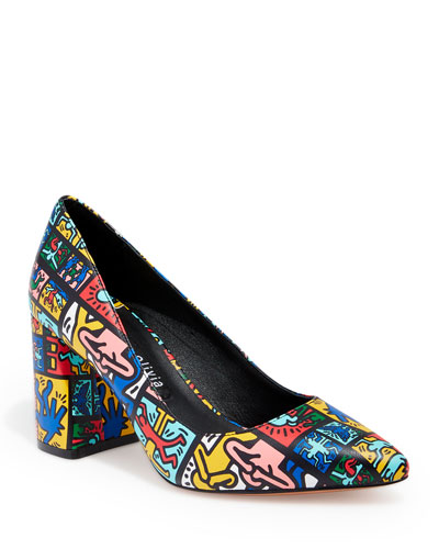 Keith Haring x Alice +Olivia Collage Pumps