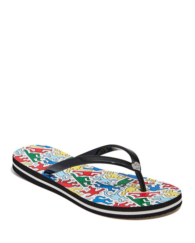 Keith Haring x Alice +Olivia  Dancing Man Sandals