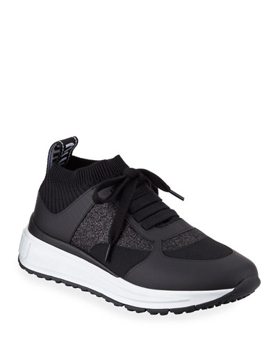 Mixed Tech Knit Platform Sneakers