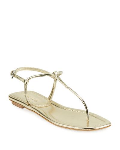 Flat Metallic Leather T-Strap Sandals