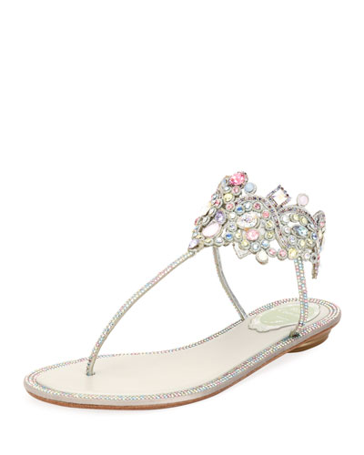 Flat Thong Sandal with Multi-Crystal Ankle Wrap