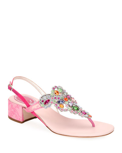 Embroidered Satin/Lace Block-Heel Sandals