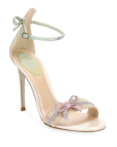 Crystal Beaded Satin Sandals with Bow