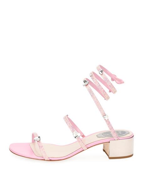b6e88f1134b Rene Caovilla Snake-Wrap Satin Block-Heel Sandal with Hearts ...