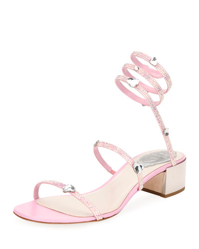 Snake-Wrap Satin Block-Heel Sandal with Hearts