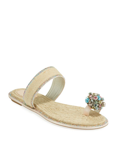 Jeweled Flat Toe-Ring Slide Sandals