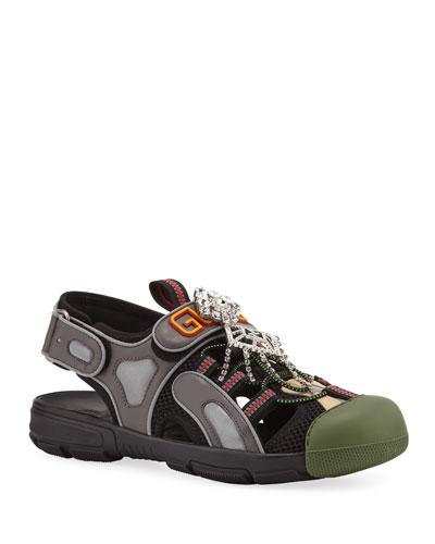 Tinsel Embellished Sneaker-Style Sandals  Black