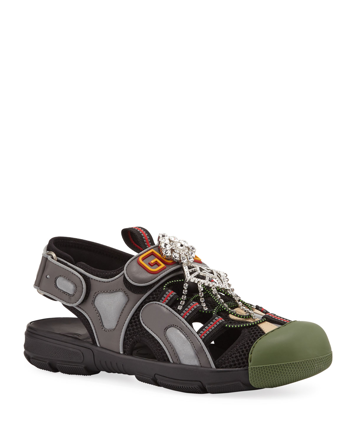 722503a016e9 Gucci Tinsel Embellished Sneaker-Style Sandals