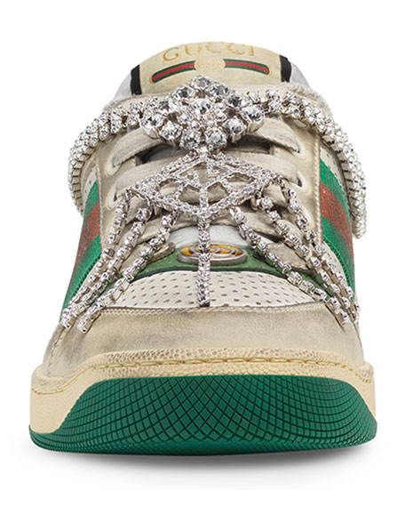Gucci Screener Dirty Sneakers with Crystals