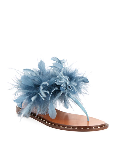 Soul Stud Feather Thong Sandals