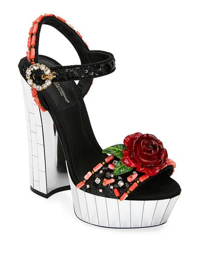 Embellished Mirrored Platform Sandals