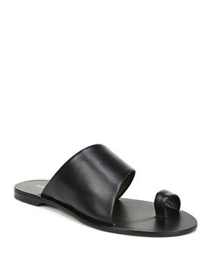 4a66c69c124d Diane von Furstenberg Brittany Leather Flat Slide Sandals