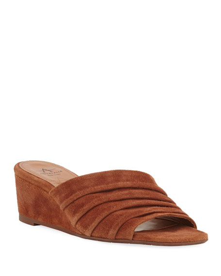 Aquatalia Sandals KRISTINA SUEDE RUCHED WEDGE SANDALS