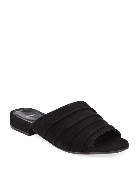 Aquatalia Sandals TIANA RUCHED SUEDE SLIDE SANDALS