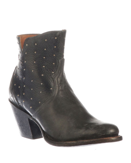 LUCCHESE Harley Studded Western Booties in Black