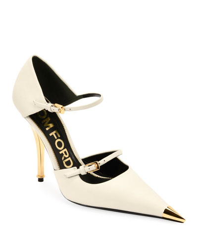 Two-Strap Mary Jane Pumps with Pointed Metal Toe