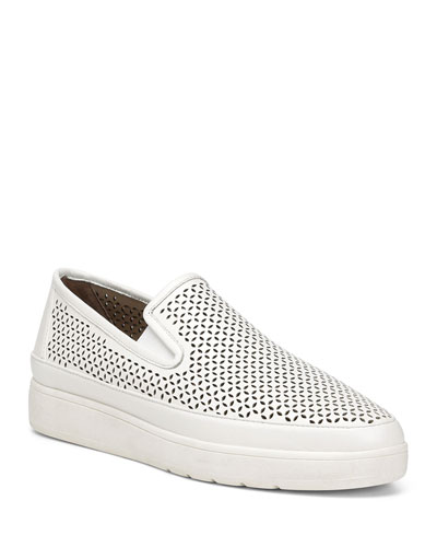 Maddox Perforated Leather Slip-On Sneakers