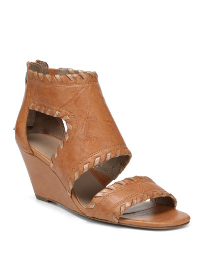 Sami Caged Leather Wedge Sandals