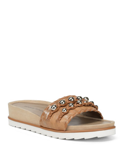 Carlie Leather Comfort Slide Sandals