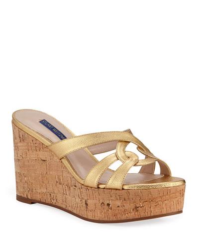 Cadence Metallic Leather Wedge Sandals
