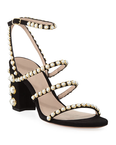 Peridot Pearly Embellished Sandals  Black