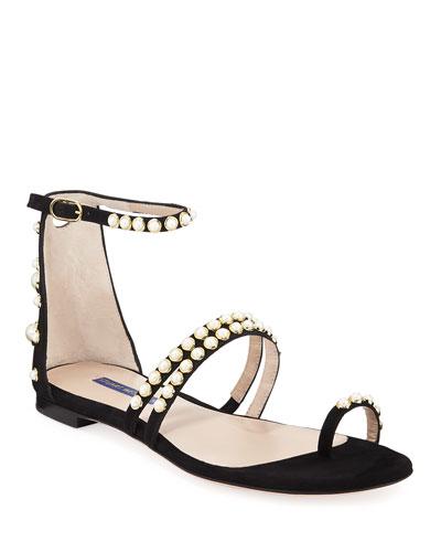 Petrina Flat Studded Suede Sandals