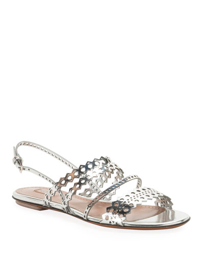 Flat Laser-Cut Metallic Slingback Sandals