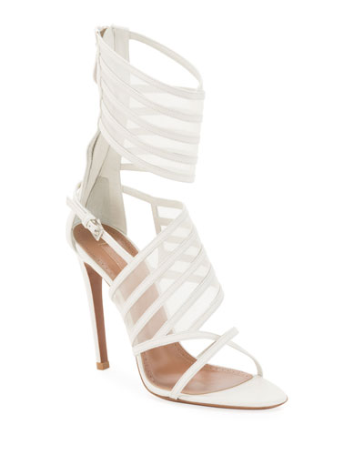 Mesh and Leather Cuffed Sandals