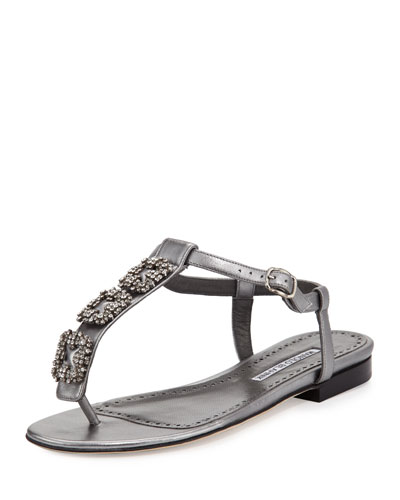 Ottolina Crystal T-Strap Sandals, Silver