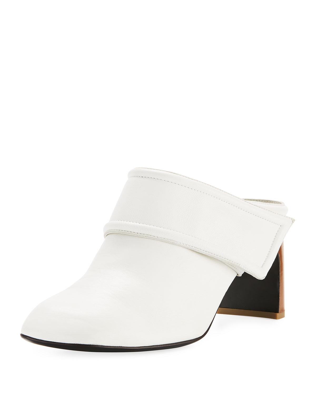 00747fb788031 Rag & Bone Elliot Mid-Heel Leather Mule   Neiman Marcus