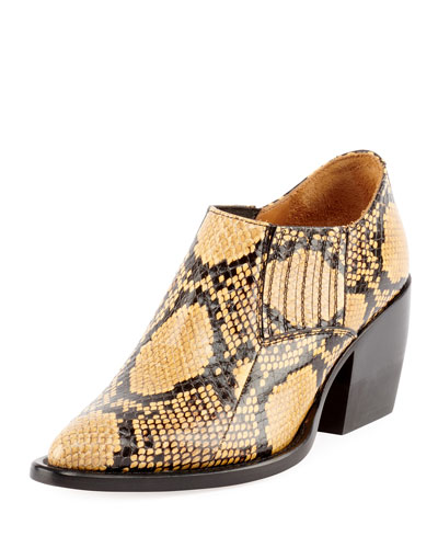 Rylee Python-Embossed Ankle Bootie