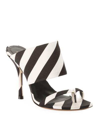 Striped Fabric Mule Sandals