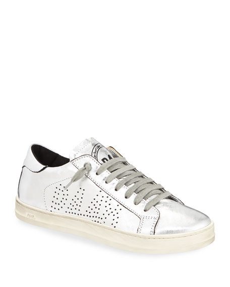 P448 Sneakers JOHN LACE-UP METALLIC LEATHER SNEAKERS