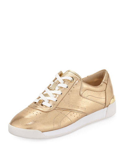 Addie Metallic Lace-Up Sneakers, Gold