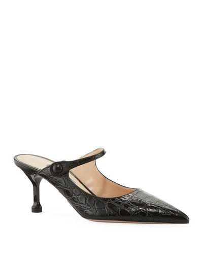 Pointed Crocodile-Print Mules