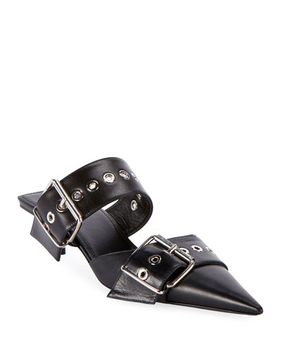 Belted Calf Leather Mules